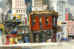 Aliso Street, L.A., 1952, California art by Jake Lee. HD giclee art prints for sale at CaliforniaWatercolor.com - original California paintings, & premium giclee prints for sale