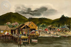 Beach Scene, California art by Jake Lee. HD giclee art prints for sale at CaliforniaWatercolor.com - original California paintings, & premium giclee prints for sale