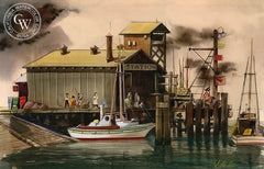 Boat Station #4, 1939, California art by Jake Lee. HD giclee art prints for sale at CaliforniaWatercolor.com - original California paintings, & premium giclee prints for sale