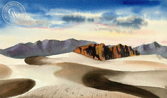Desert Landscape, c. 1938, California art by Jake Lee. HD giclee art prints for sale at CaliforniaWatercolor.com - original California paintings, & premium giclee prints for sale