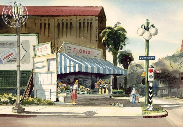 Florist, L.A., 1948, California art by Jake Lee. HD giclee art prints for sale at CaliforniaWatercolor.com - original California paintings, & premium giclee prints for sale