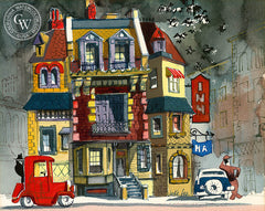 Greenwich Village, New York, California art by Jake Lee. HD giclee art prints for sale at CaliforniaWatercolor.com - original California paintings, & premium giclee prints for sale