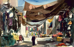 Market Scene, California art by Jake Lee. HD giclee art prints for sale at CaliforniaWatercolor.com - original California paintings, & premium giclee prints for sale