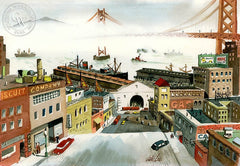 San Francisco, c. 1940's, California art by Jake Lee. HD giclee art prints for sale at CaliforniaWatercolor.com - original California paintings, & premium giclee prints for sale