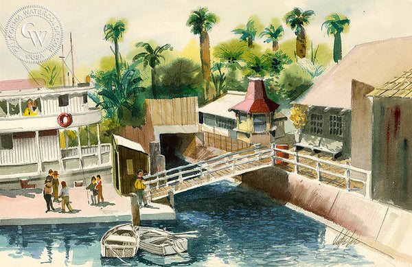 San Pedro Harbor, California art by Jake Lee. HD giclee art prints for sale at CaliforniaWatercolor.com - original California paintings, & premium giclee prints for sale