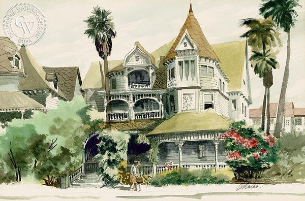 Victorian House, California art by Jake Lee. HD giclee art prints for sale at CaliforniaWatercolor.com - original California paintings, & premium giclee prints for sale