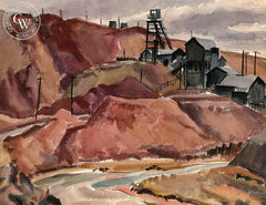 Mine, 1940, California art by James Couper Wright. HD giclee art prints for sale at CaliforniaWatercolor.com - original California paintings, & premium giclee prints for sale