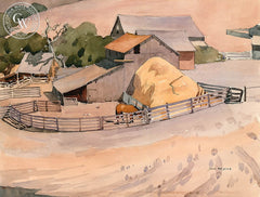James Fitzgerald - Berta Ranch, Carmel Valley, c. 1930's, California art, original California watercolor art for sale - CaliforniaWatercolor.com