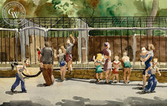 Afternoon at the Zoo, c. 1950, California art by James Grant. HD giclee art prints for sale at CaliforniaWatercolor.com - original California paintings, & premium giclee prints for sale