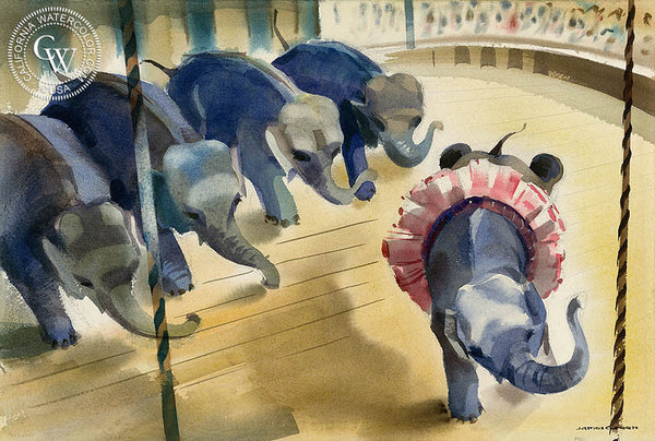 Circus Elephants, California art by James Green. HD giclee art prints for sale at CaliforniaWatercolor.com - original California paintings, & premium giclee prints for sale