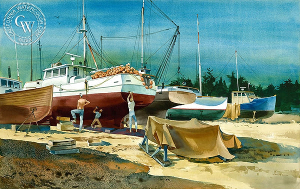 Drydock Work, California art by James Green. HD giclee art prints for sale at CaliforniaWatercolor.com - original California paintings, & premium giclee prints for sale