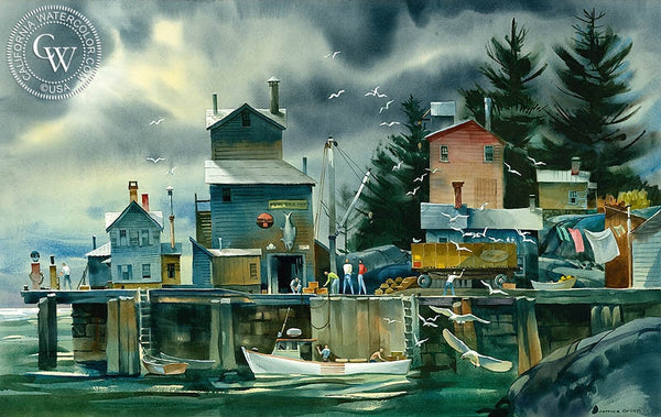 Lobster Season, Deer Isle Maine, c. 1992, California art by James Green. HD giclee art prints for sale at CaliforniaWatercolor.com - original California paintings, & premium giclee prints for sale