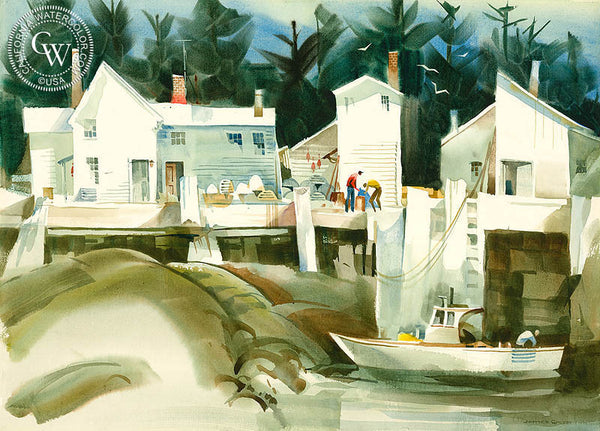 Low Tide, Deer Isle Maine, c. 1992, California art by James Green. HD giclee art prints for sale at CaliforniaWatercolor.com - original California paintings, & premium giclee prints for sale