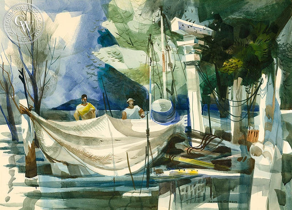 Repairing Nets, California art by James Green. HD giclee art prints for sale at CaliforniaWatercolor.com - original California paintings, & premium giclee prints for sale