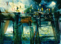 Night Owls at the Newport Pier, c. 1953, California art by James Green. HD giclee art prints for sale at CaliforniaWatercolor.com - original California paintings, & premium giclee prints for sale