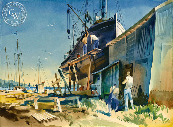 Painting the Hull, California watercolor art by James Green. HD giclee art prints for sale at CaliforniaWatercolor.com - original California paintings, & premium giclee prints for sale