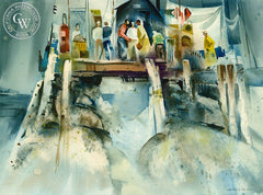 Pier Fishing, c. 1950's, California art by James Green. HD giclee art prints for sale at CaliforniaWatercolor.com - original California paintings, & premium giclee prints for sale