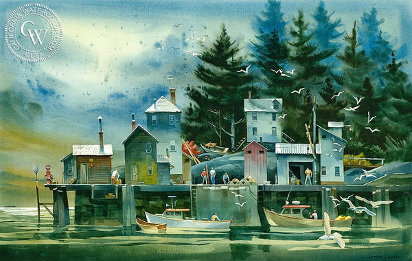 The Fishing Dock, Deer Isle Maine, c. 1992, California art by James Green. HD giclee art prints for sale at CaliforniaWatercolor.com - original California paintings, & premium giclee prints for sale