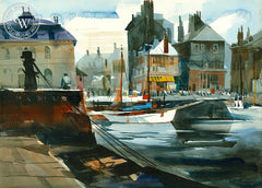 The Harbor, Honfleur, France, 1972, California art by James Green. HD giclee art prints for sale at CaliforniaWatercolor.com - original California paintings, & premium giclee prints for sale