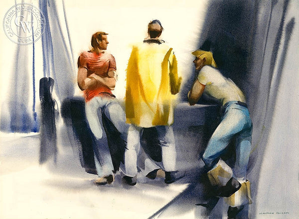 Three Fisherman, c. 1985, California art by James Green. HD giclee art prints for sale at CaliforniaWatercolor.com - original California paintings, & premium giclee prints for sale