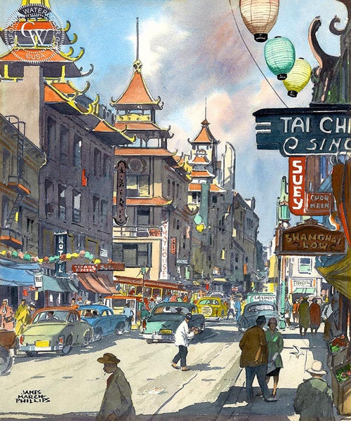 Chinatown, c. 1950s, California art by James March Phillips. HD giclee art prints for sale at CaliforniaWatercolor.com - original California paintings, & premium giclee prints for sale