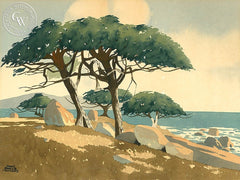 Coastal Trees, California art by James March Phillips. HD giclee art prints for sale at CaliforniaWatercolor.com - original California paintings, & premium giclee prints for sale