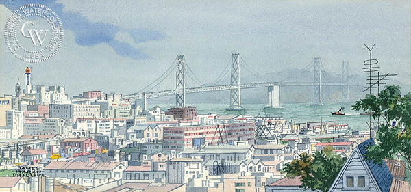 Impressions from Potrero Hill, San Francisco, James March Phillips, California art by James March Phillips. HD giclee art prints for sale at CaliforniaWatercolor.com - original California paintings, & premium giclee prints for sale