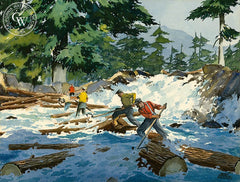 Log jam in the Rapids, c. 1950, California art by James March Phillips. HD giclee art prints for sale at CaliforniaWatercolor.com - original California paintings, & premium giclee prints for sale