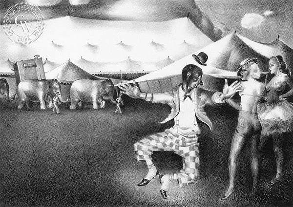 Amusing the Ladies, 1939, California art by James Hollins Patrick. HD giclee art prints for sale at CaliforniaWatercolor.com - original California paintings, & premium giclee prints for sale
