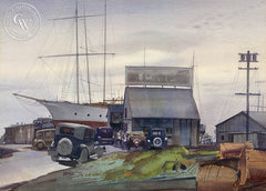 Boat Builders Yard, 1938, California art by James Hollins Patrick. HD giclee art prints for sale at CaliforniaWatercolor.com - original California paintings, & premium giclee prints for sale