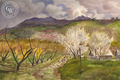 Calimesa Orchard, 17th Street, c. 1930's, California art by James Hollins Patrick. HD giclee art prints for sale at CaliforniaWatercolor.com - original California paintings, & premium giclee prints for sale