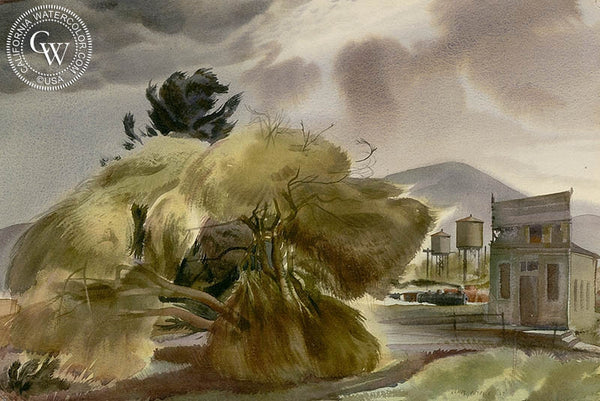 Desert Station-Weeping Willow, 1937, California art by James Hollins Patrick. HD giclee art prints for sale at CaliforniaWatercolor.com - original California paintings, & premium giclee prints for sale