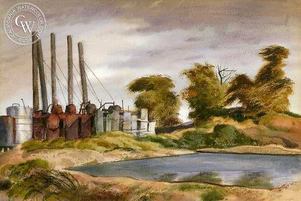 Los Angeles Refinery, 1937, California art by James Hollins Patrick. HD giclee art prints for sale at CaliforniaWatercolor.com - original California paintings, & premium giclee prints for sale