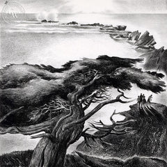 Monterey Cypress, 1939, California art by James Hollins Patrick. HD giclee art prints for sale at CaliforniaWatercolor.com - original California paintings, & premium giclee prints for sale