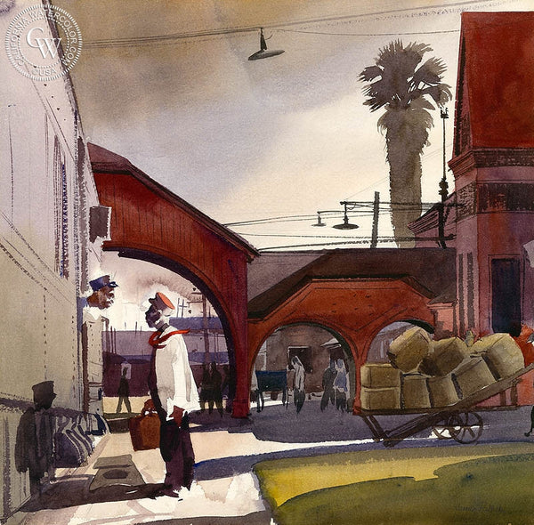 Red Cap Gossip, L.A., c. 1939, California art by James Hollins Patrick. HD giclee art prints for sale at CaliforniaWatercolor.com - original California paintings, & premium giclee prints for sale