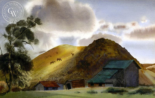 Spring Grazing, 1939, California art by James Hollins Patrick. HD giclee art prints for sale at CaliforniaWatercolor.com - original California paintings, & premium giclee prints for sale