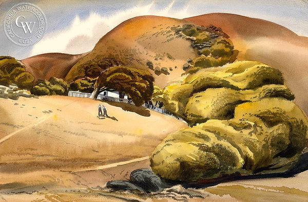 The New Puppy, 1938, California art by James Hollins Patrick. HD giclee art prints for sale at CaliforniaWatercolor.com - original California paintings, & premium giclee prints for sale