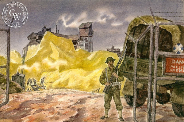 Weapons of War, 1942, California art by James Hollins Patrick. HD giclee art prints for sale at CaliforniaWatercolor.com - original California paintings, & premium giclee prints for sale
