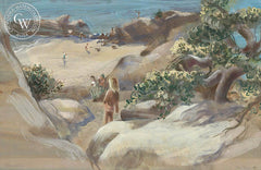 Mermaid Cove, Laguna Beach, 1947, California art by Joan Irving (Brandt). HD giclee art prints for sale at CaliforniaWatercolor.com - original California paintings, & premium giclee prints for sale