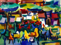 The Cafe, California art by Jo Rebert. HD giclee art prints for sale at CaliforniaWatercolor.com - original California paintings, & premium giclee prints for sale