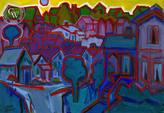 Neighborhood, California art by Jo Rebert. HD giclee art prints for sale at CaliforniaWatercolor.com - original California paintings, & premium giclee prints for sale