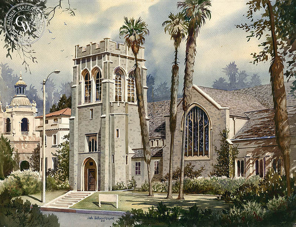All Saints Church in Pasadena, CA, California watercolor art by John Bohnenberger. HD giclee art prints for sale at CaliforniaWatercolor.com - original California paintings, & premium giclee prints for sale
