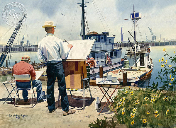 Artists at Work, California art by John Bohnenberger. HD giclee art prints for sale at CaliforniaWatercolor.com - original California paintings, & premium giclee prints for sale