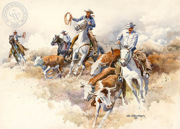 Cattle Drive, California art by John Bohnenberger. HD giclee art prints for sale at CaliforniaWatercolor.com - original California paintings, & premium giclee prints for sale