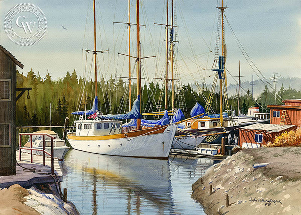 Empty Masts, a California Watercolor painting by John Bohnenberger. HD giclee art prints for sale at CaliforniaWatercolor.com - original California paintings, & premium giclee prints for sale