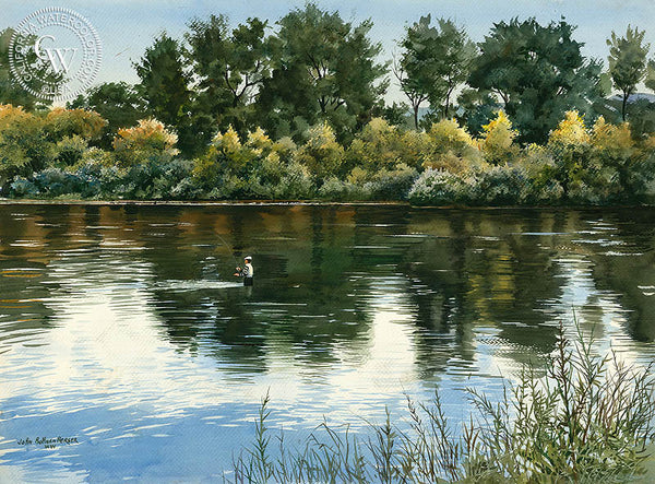 Fly Fishing, California art by John Bohnenberger. HD giclee art prints for sale at CaliforniaWatercolor.com - original California paintings, & premium giclee prints for sale