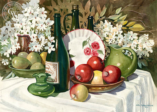 Fruit, Wine, and Flowers, California watercolor art by John Bohnenberger. HD giclee art prints for sale at CaliforniaWatercolor.com - original California paintings, & premium giclee prints for sale