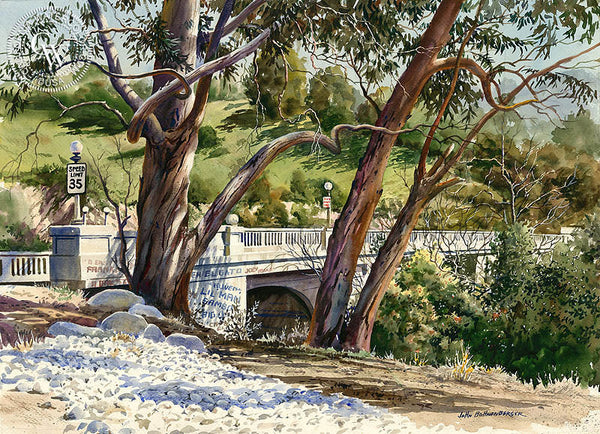Griffito Bridge, California art by John Bohnenberger. HD giclee art prints for sale at CaliforniaWatercolor.com - original California paintings, & premium giclee prints for sale