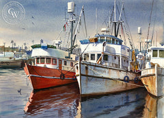 Harbor Boats, California art by John Bohnenberger. HD giclee art prints for sale at CaliforniaWatercolor.com - original California paintings, & premium giclee prints for sale