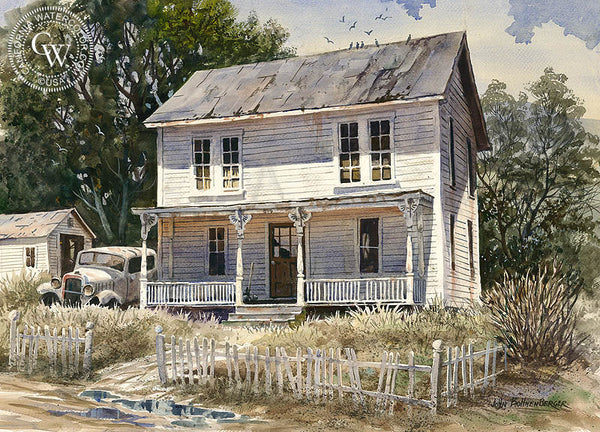 House of Old Memories, (Halloween House), a California Watercolor painting by John Bohnenberger. HD giclee art prints for sale at CaliforniaWatercolor.com - original California paintings, & premium giclee prints for sale